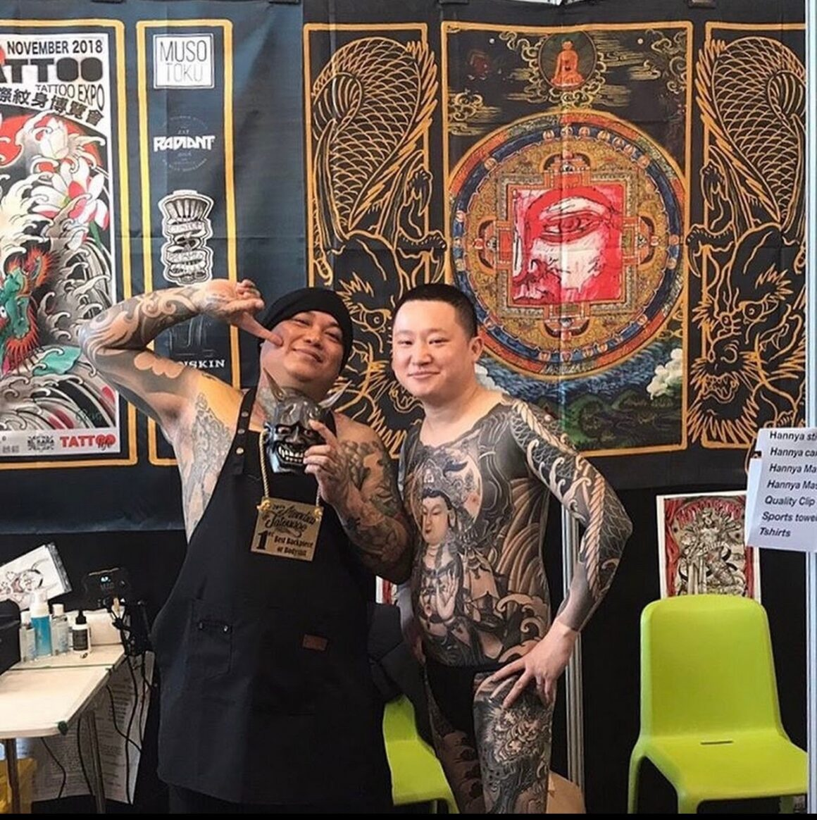 Orient Ching in 2018 at the Mondial du Tatouage, Best Backpiece 1st place